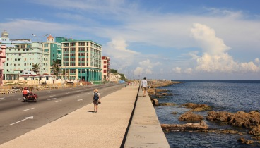 Walking along the Malecon Havana