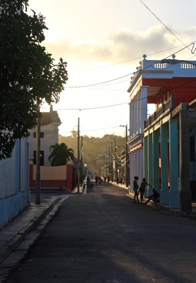 Gibara street at sunset
