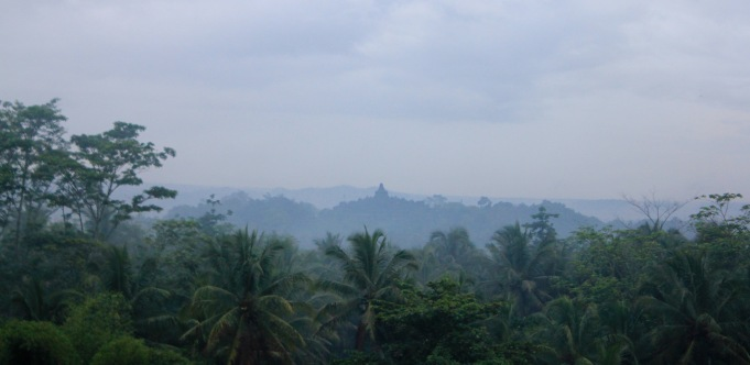 Borobudur view from the Plataran hotel