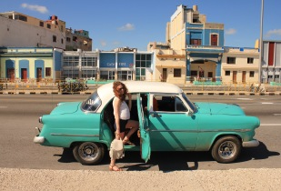Classic car taxi on the Malecon
