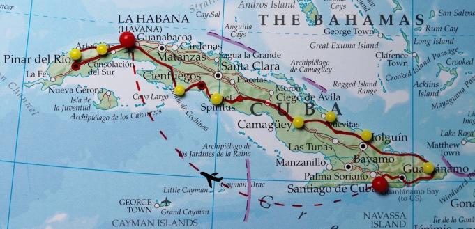 Road trip map Cuba
