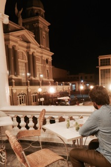 Drinking cocktails on the terrace of Hotel Casa Grande in Santiago de Cuba