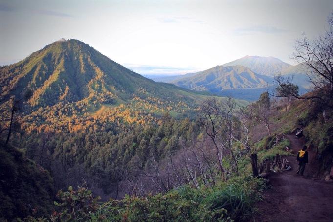 Hiking trail to Kawah Ijen volcano