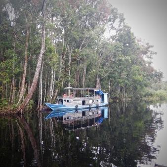 Klotok on a river in Tanjung Puting Kalimantan