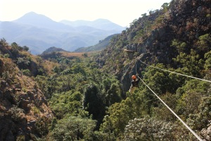 Malolotja canopy tour zip lining over the treetops