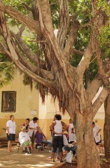 Outdoor hairdresser in Havana