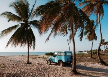 Vintage car and coconut palms on Playa los Cocos beach Cuba