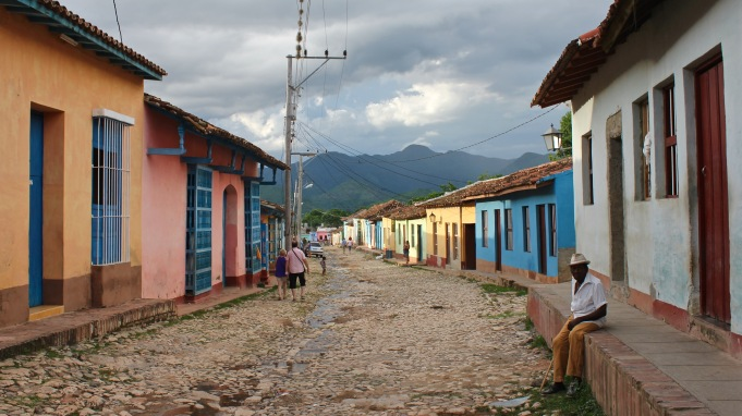 Street with a mountain view in Trinidad Cuba