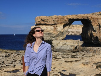 Sofie in front of the Azure Window in Gozo