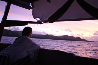 Admiring the Komodo sunset from the boat