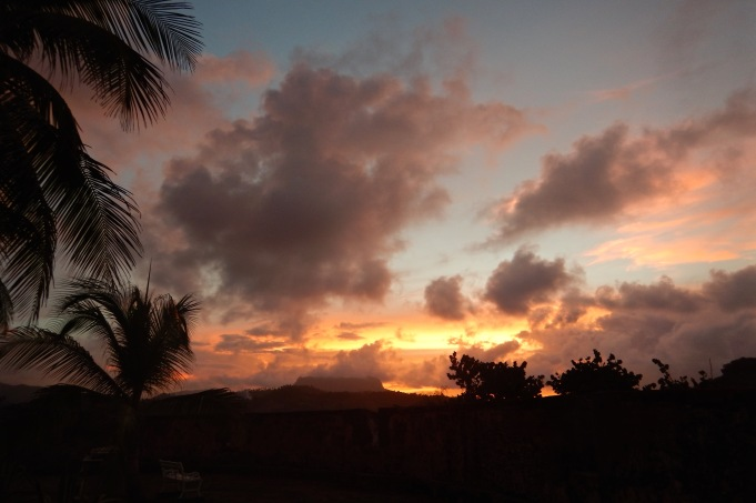 Fiery sunset over El Yunque mountain, Baracoa