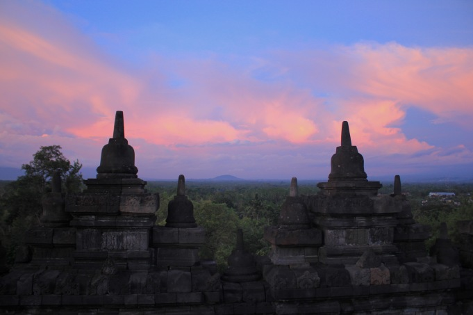 On top of Borobudur at sunset