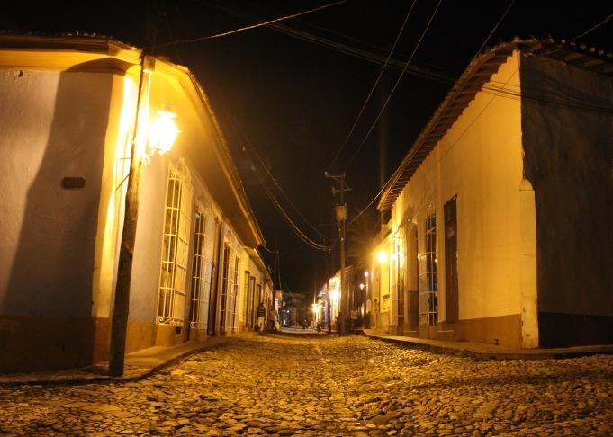 Trinidad street at night