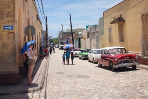 Looking for shade on the streets of Trinidad Cuba
