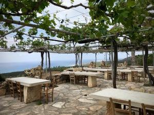 Viklari restaurant terrace shaded by vines