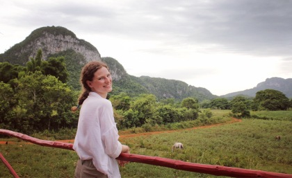 Admiring the view from cafeteria Corazon del Valle Vinales