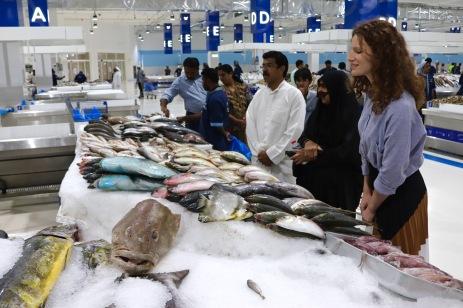 Shoppers at the new Deira fish souk, Dubai