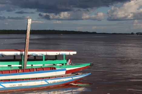 Boats on the Commewijne river in Suriname