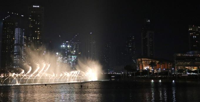 Dubai Fountain show in front of Dubai Opera