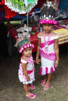 Two girls dressed up for Indigenous Day Suriname