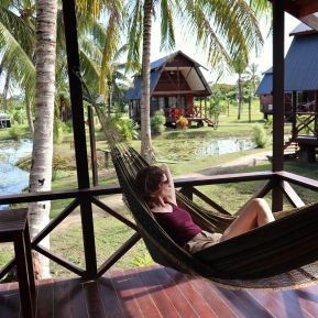 Relaxing in a hammock at Frederiksdorp Suriname