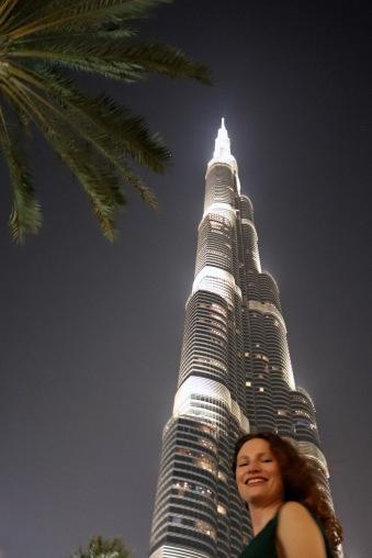 At the bottom of Burj Khalifa