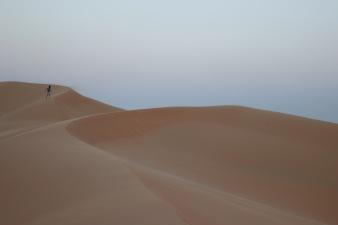 Walking in the sand desert of Telal resort, Abu Dhabi