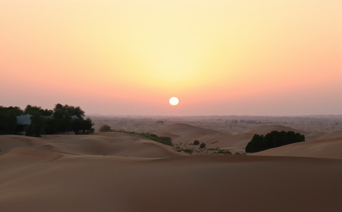 Sunset over Telal desert resort