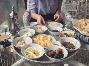 Arabic breakfast at the Arabian Tea House, Bastakia Quarter Dubai