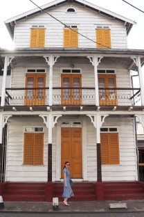 White and yellow wooden house in Paramaribo