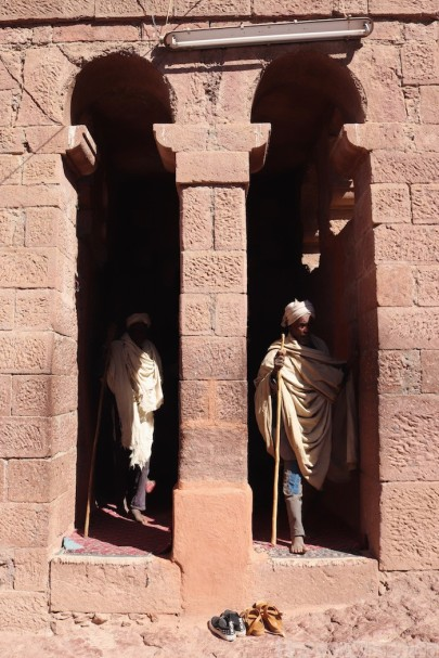 Worshippers exiting a church in Lalibela
