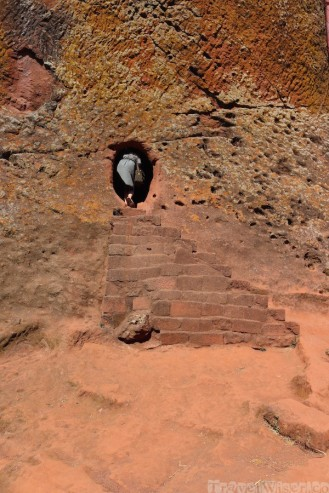 Small entrance to the rock-hewn churches of Lalibela Ethiopia