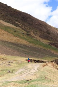 Woman walking in the highlands of Ecuador