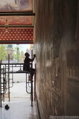Restoring the Ramakian murals, Wat Phra Kaew