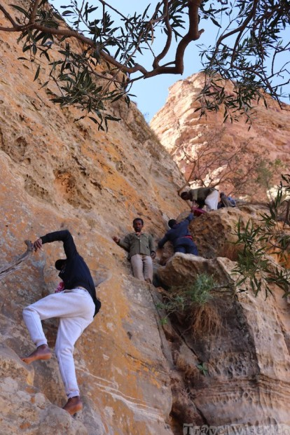 Climbing up to Abuna Yemata Guh church in Tigray