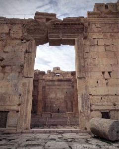 Entrance to the temple of Bacchus in Baalbek, Lebanon