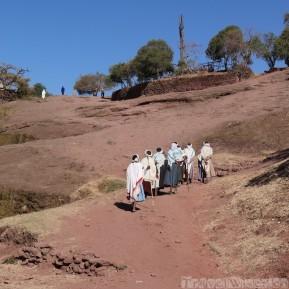 Pilgrims heading to the rock-hewn churches of Lalibela Ethiopia