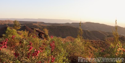 Old Abyssinia Lodge in Lalibela at sunset