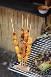 Chontacuro worms on the grill, Coca Ecuador