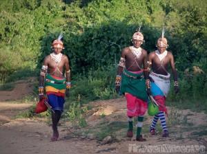 Samburu warriors in ceremonial dress, Northern Kenya