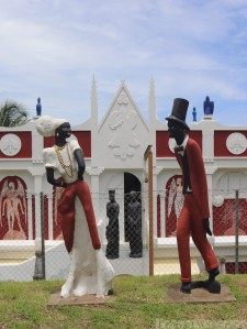 Statues in front of the Kimme Museum Tobago