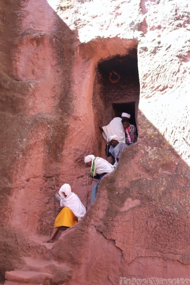 Pilgrims descending a steep stairway at Lalibela's rock-hewn churches