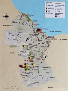 Guyana trip itinerary map