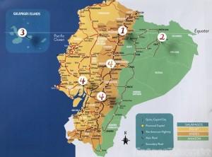 Ecuador itinerary map