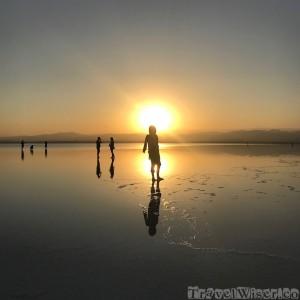 Walking on water at Asale salt lake