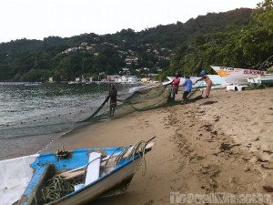 Hauling in the fishing nets, Charlotteville Tobago