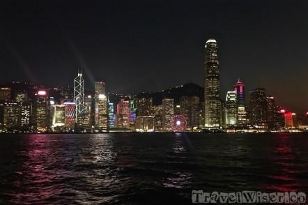 Hong Kong illuminated skyline by night