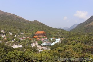 Po Lin Monastery nestled in the hills of Lantau Island