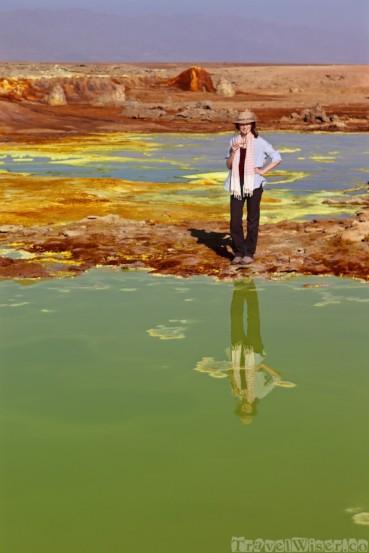 Sofie at the Dallol hot springs, Danakil Depression Ethiopia