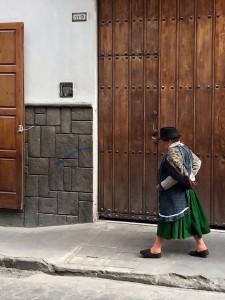 Woman in traditional dress, Cuenca Ecuador